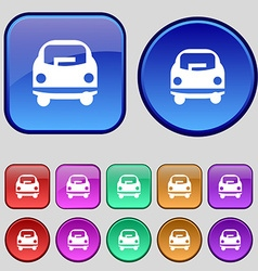 Car icon sign A set of twelve vintage buttons for vector image