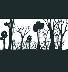 cartoon silhouette black forest vector image