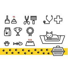 Cat icon set for veterinary clinic shelter vector