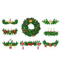 christmas wreath made pine and candles bows vector image