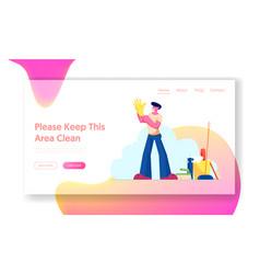 cleaning service worker duties website landing vector image