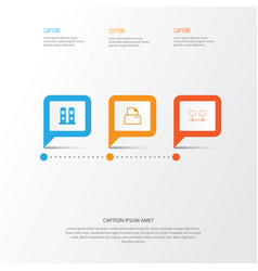 Computer icons set collection of connected vector
