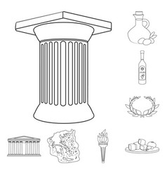 Country greece outline icons in set collection for vector