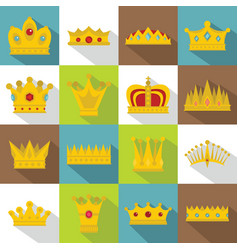 crown icons set flat style vector image
