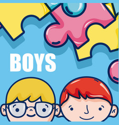 cute boys faces cartoon vector image