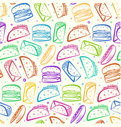 Cute colorful outline fast food on white pattern vector