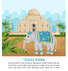 cute elephant symbol of india country taj vector image