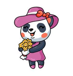 Cute little panda girl cartoon holding flowers vector