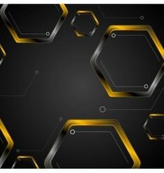 Dark tech background with black orange hexagons vector