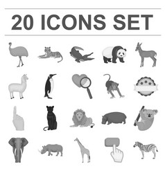different animals monochrome icons in set vector image