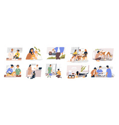 Different situation pets life set flat vector