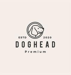 dog head hipster vintage logo icon vector image