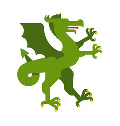 Dragon green heraldic animal fantastic beast vector