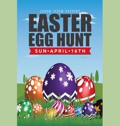 Easter egg hunt flyer template design vector