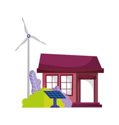 eco friendly house solar panel windmill energy vector image