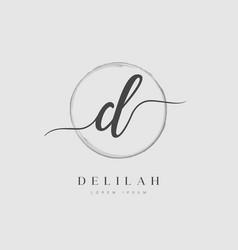 elegant initial letter type d logo vector image
