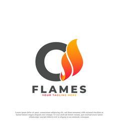 Flame with letter o logo design fire logo template vector