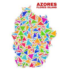 Flores island azores map - mosaic color vector