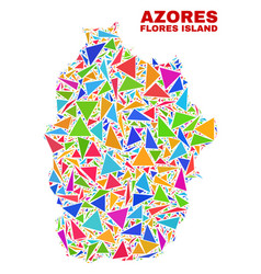Flores island of azores map - mosaic of color vector