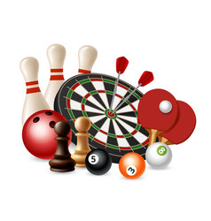 gambling sport games bowling darts chess vector image