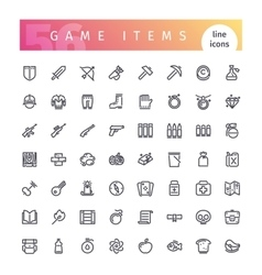 Game Items Line Icons Set vector image