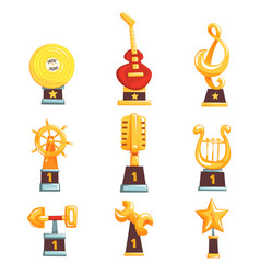 golden trophy cups awards and achievements set of vector image
