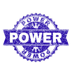 Grunge textured power stamp seal with ribbon vector