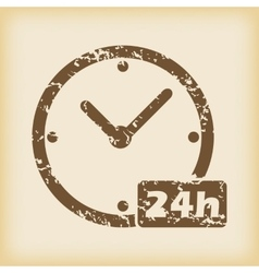 Grungy 24h work icon vector