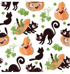 halloween cat pumpkin flat design seamless pattern vector image