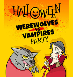 halloween holiday cartoon poster design with ghost vector image