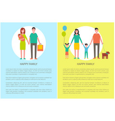 Happy family posters set text vector