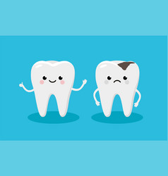 happy healthy tooth and moody tooth with cavity vector image