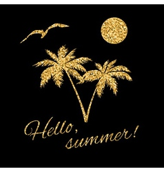 Hello summer Typography Graphic palm vector