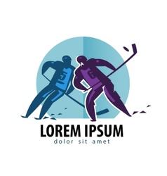 hockey logo design template player vector image