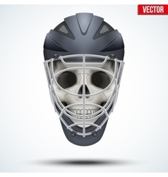 Human skull with Goalkeeper Ice and Field Hockey vector