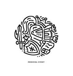 Icon of medieval elements vector