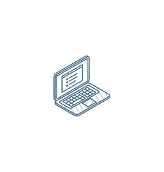 laptop computer notebook isometric icon 3d line vector image