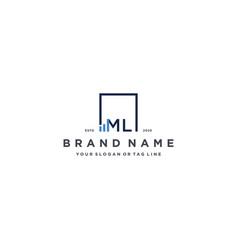 Letter ml square logo finance design vector