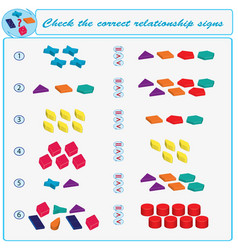 Logical task check the correct relationship signs vector