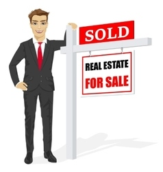 Male real estate agent with sold for sale sign vector image