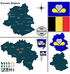 Map of brussels belgium vector