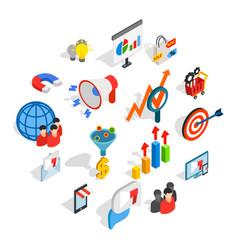 marketing icons set isometric 3d style vector image