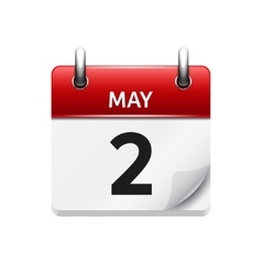 May 2 flat daily calendar icon date vector