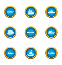 metal boat icons set flat style vector image