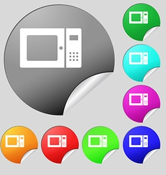 microwave icon sign Set of eight multi colored vector image