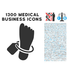 Morgue tagged foot icon with 1300 medical business vector
