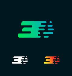 number 3 modern speed shapes logo design vector image