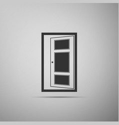 open door icon isolated on grey background vector image