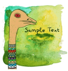 ostrich on watercolor background vector image