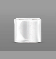 Paper towel pack mockup with transparent wrapping vector